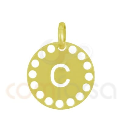 Gold plated Sterling silver 925ml die-cut letter C medallion 14 mm
