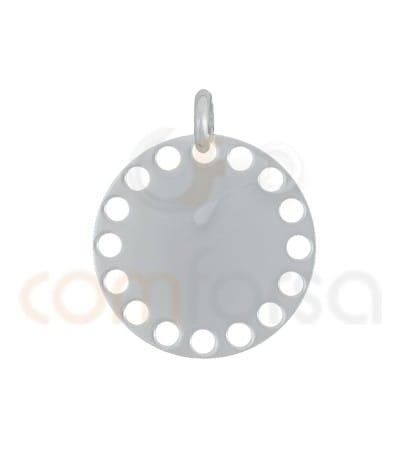 Pendant die cut circles 20 mm Sterling silver 925ml