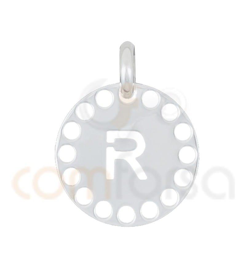 Sterling silver 925ml die-cut letter R medallion 14 mm