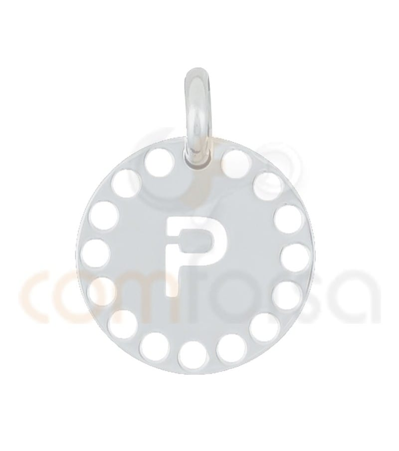 Sterling silver 925ml die-cut letter P medallion 14 mm