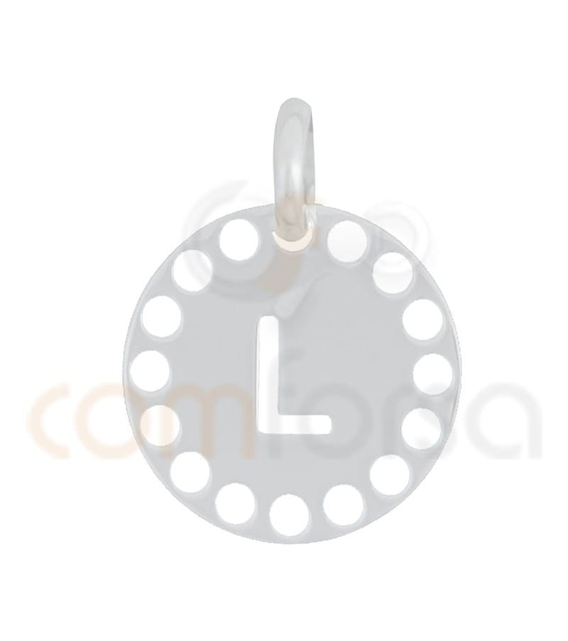 Sterling silver 925ml die-cut letter L medallion 14 mm