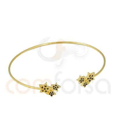 Gold plated Sterling Silver 925ml rigid bracelet with stars and jet zirconia