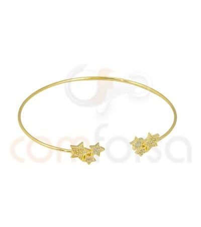 Gold plated Sterling Silver 925ml rigid bracelet with stars and zirconia