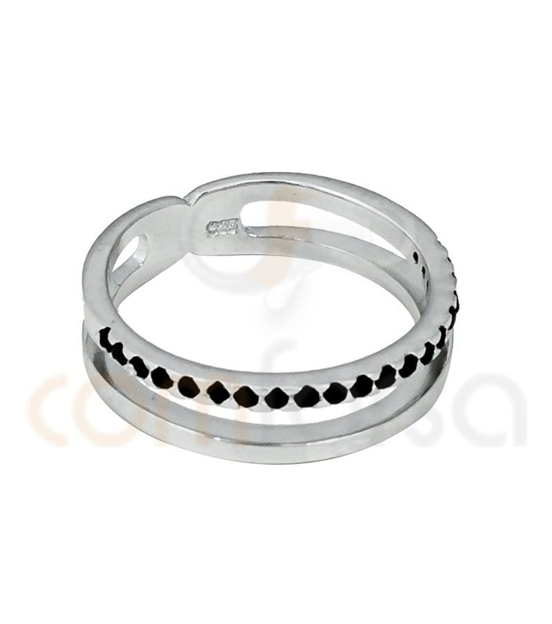Rhodium Plated Sterling Silver 925ml double bracelet with jet zirconia