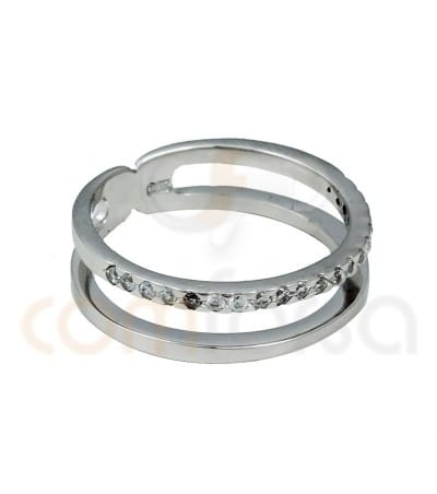 Rhodium Plated Sterling Silver 925ml double bracelet with zirconia