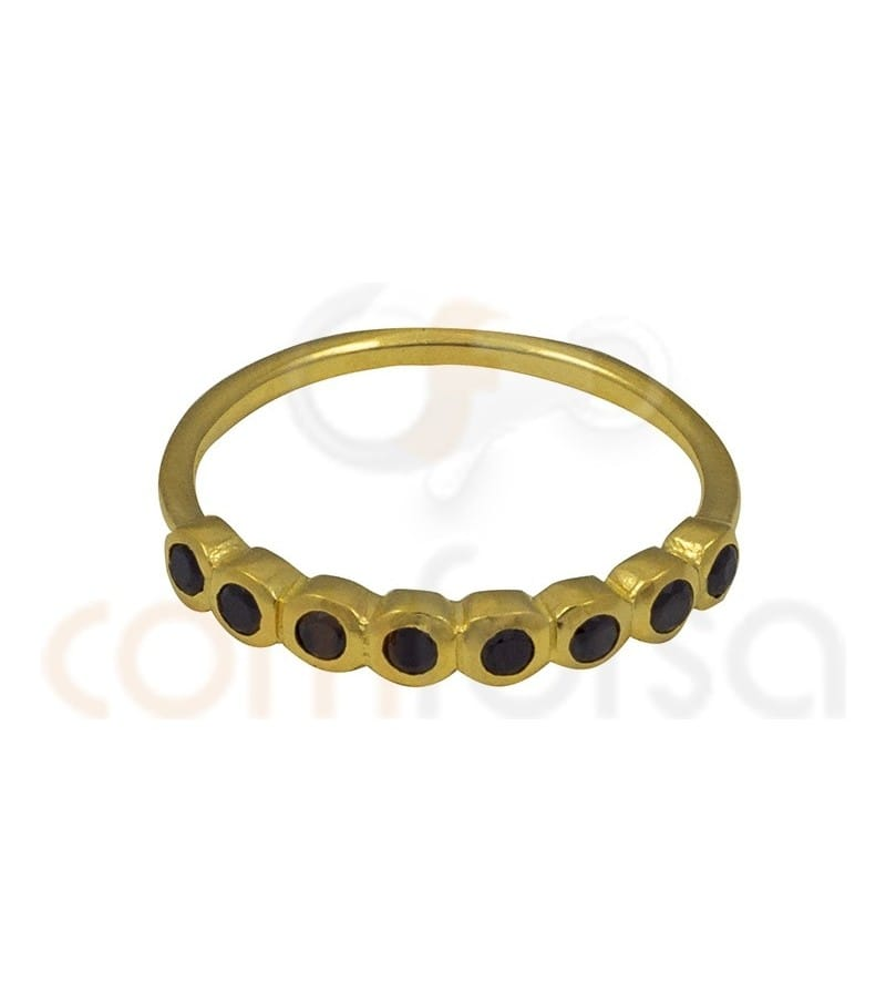 Gold Plated Sterling Silver 925ml eight jet zirconia ring