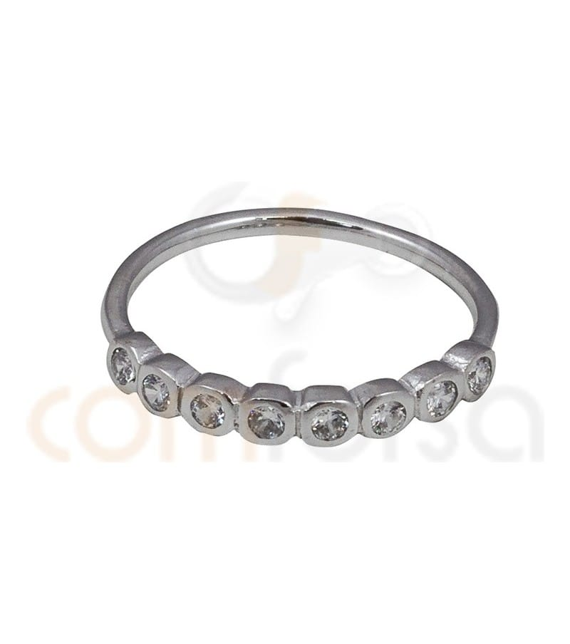 Rhodium Plated Sterling Silver 925ml eight zirconia ring