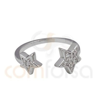 Rhodium Plated Sterling Silver 925ml double star ring with zirconia