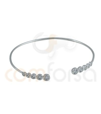 Rhodium Plated Sterling Silver 925ml rigid bracelet with zirconia in decrease