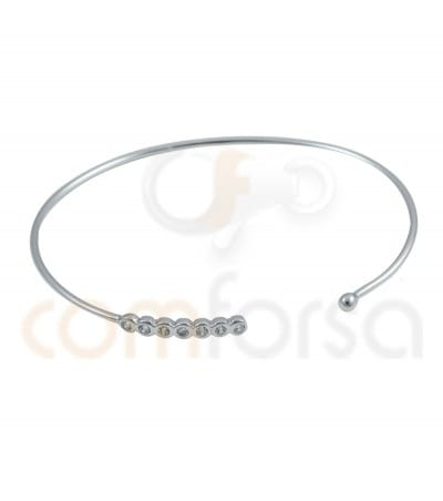 Rhodium Plated Sterling Silver 925ml rigid bracelet with ball and zirconia