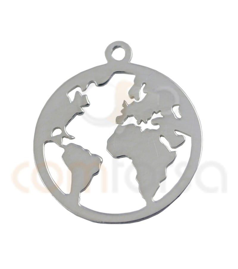 Sterling silver world pendant 15 mm