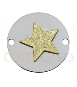 Sterling silver  925ml two colored  star medaillion  18 mm