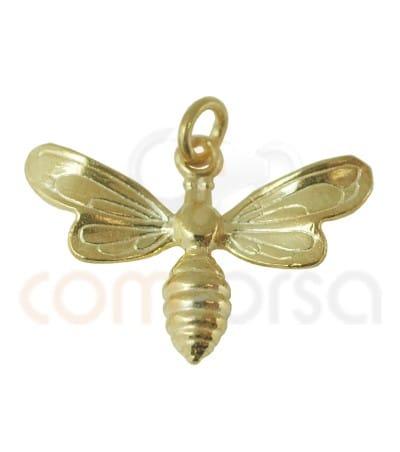 Colgante abeja 23 x 16 mm plata chapada en oro