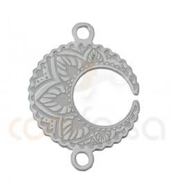 Sterling silver 925ml Moon Mandala connector 13mm