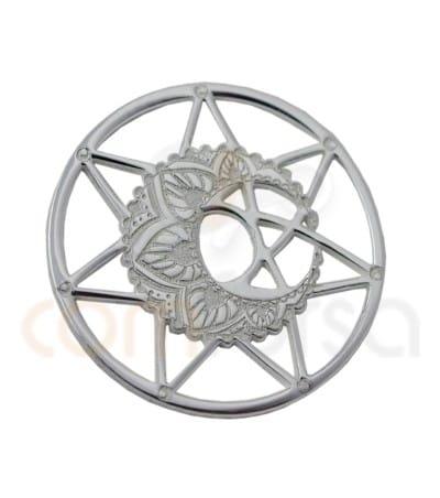 Mandala con luna 13mm plata 925