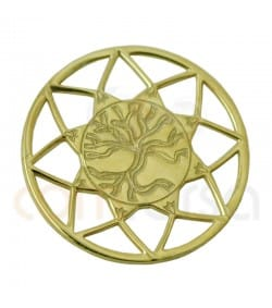 Entrepieza Mandala con árbol de la vida 13 mm plata 925 chapada en oro