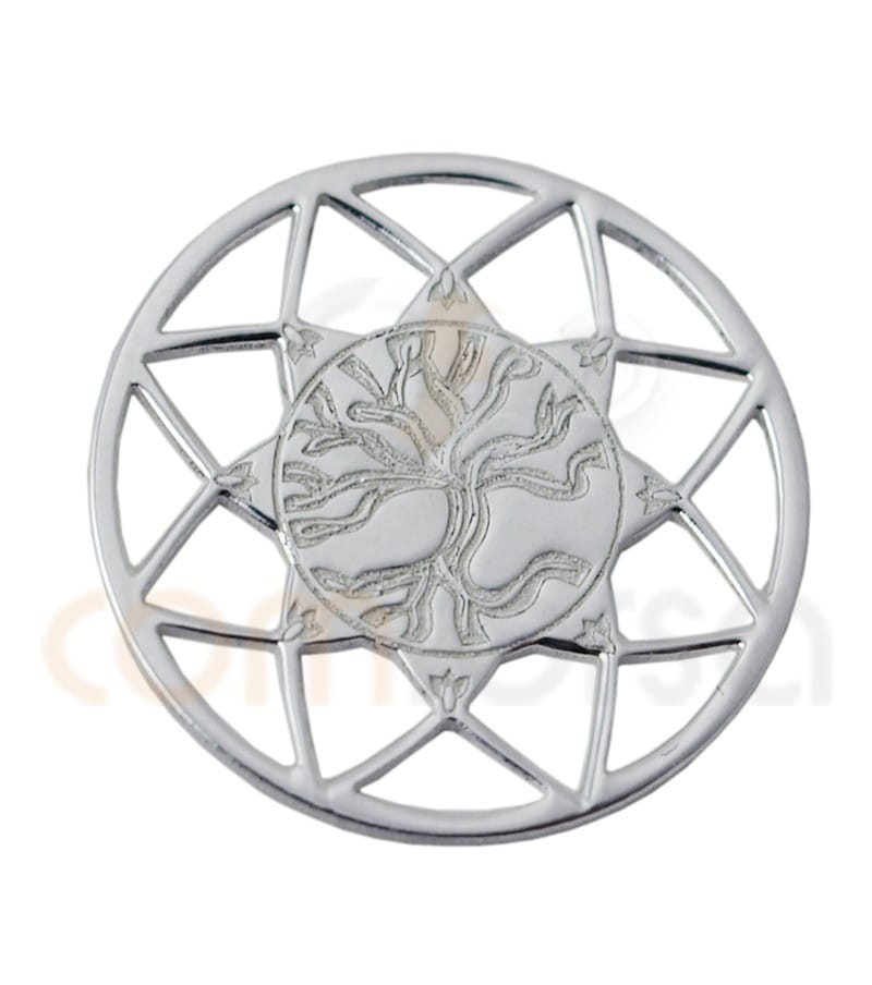 Sterling silver 925ml Mandala with Tree of life 13mm