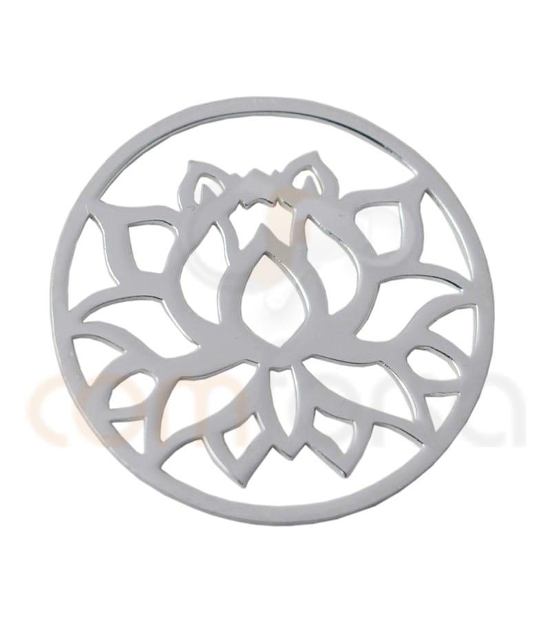 Mandala Flor de Loto 15 mm plata 925