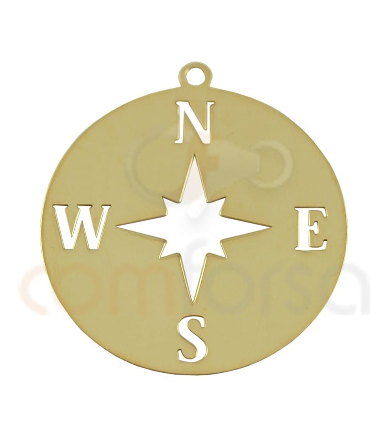 Sterling silver 925 compass pendant 25mm