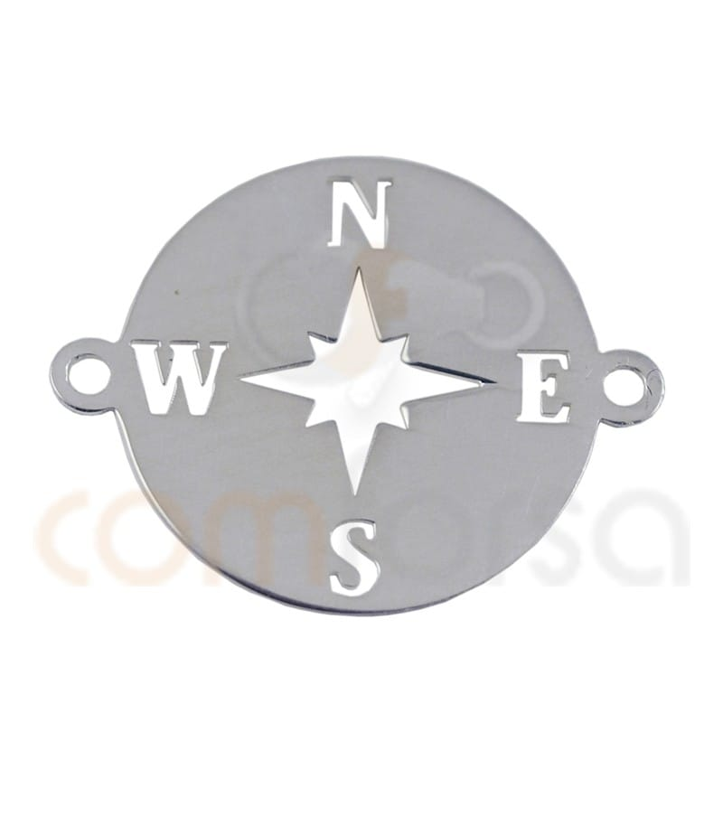 Sterling silver Wind Rose connector 15mm