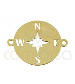 Gold plated Sterling silver Wind Rose connector 15mm