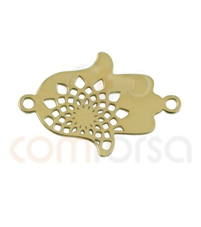 Gold plated Sterling silver Hamsa hand with mandala connector 15mm