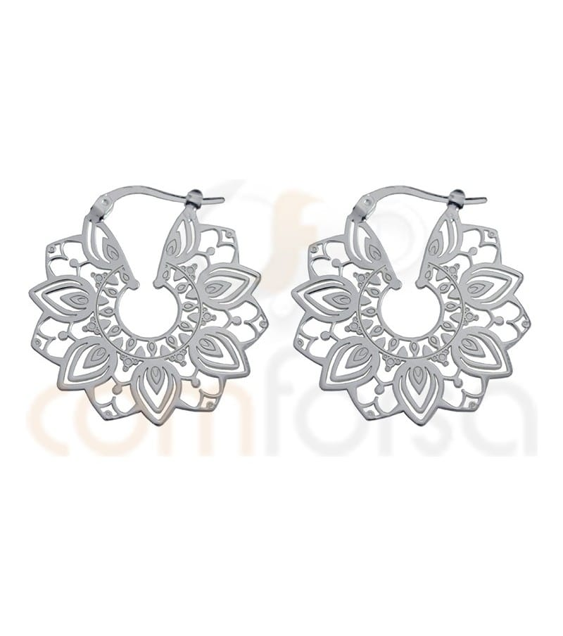 Sterling silver mandala flower earrings 29 mm