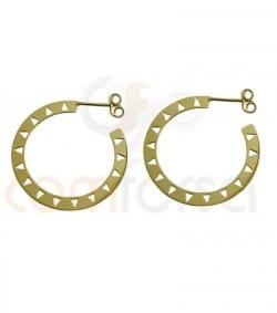 Sterling silver Gold plated ethnic disc earrings 29 mm