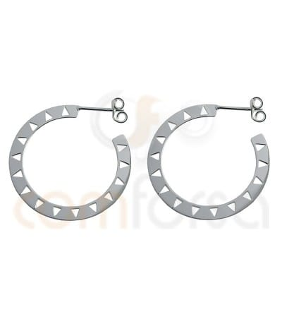 Sterling silver ethnic disc earrings 29 mm