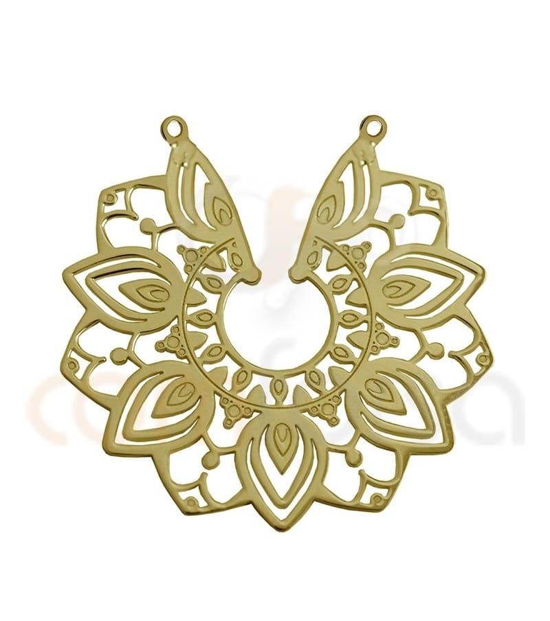 Entrepieza flor mandala 29 mm plata chapada en oro