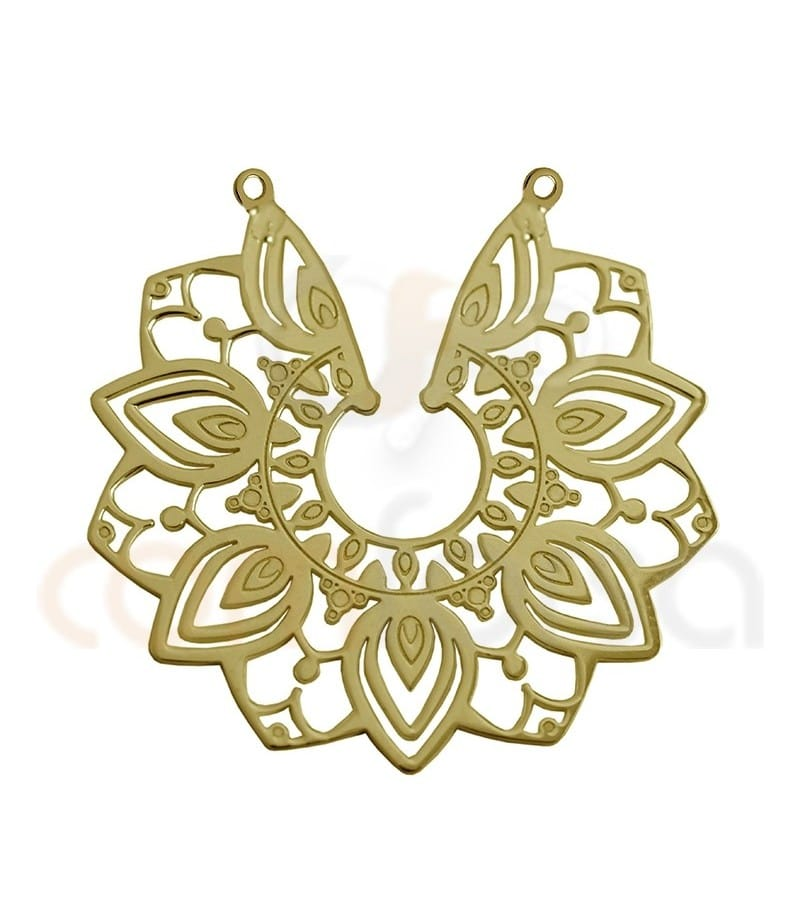 Sterling silver gold-plated mandala flower connector 29 mm