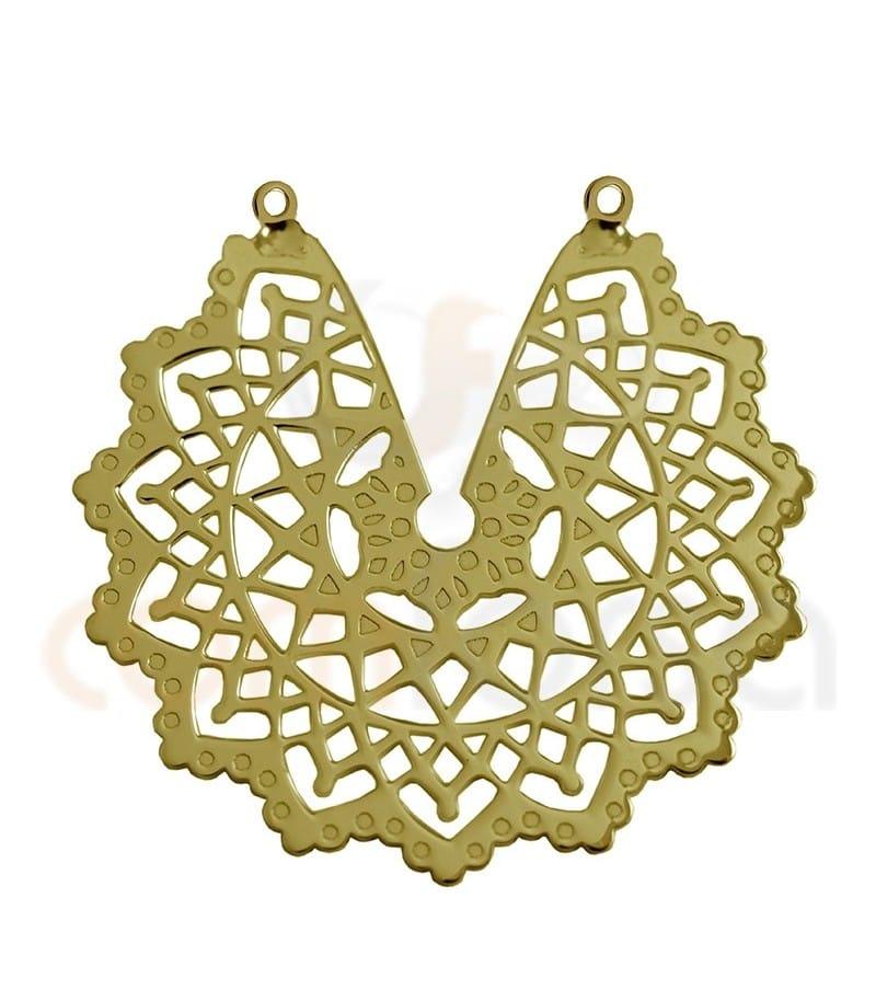 Entrepieza flor mandala de la india 29 mm plata 925 chapada en oro
