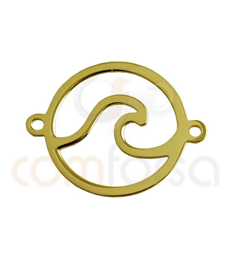 Sterling silver gold-plated wave connector 15 mm