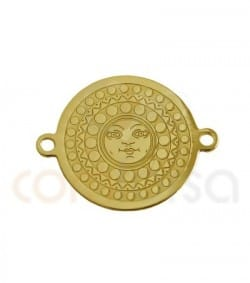 Gold plated sterling silver sun coin 14.5 mm