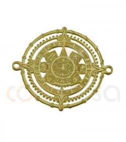 Gold plated sterling silver Mayan calendar connector 22 mm