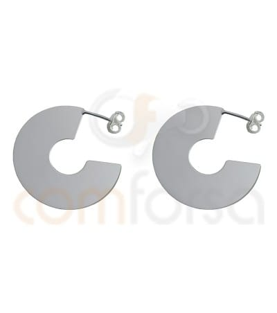 Sterling silver Gold plated round flat earrings 29 mm