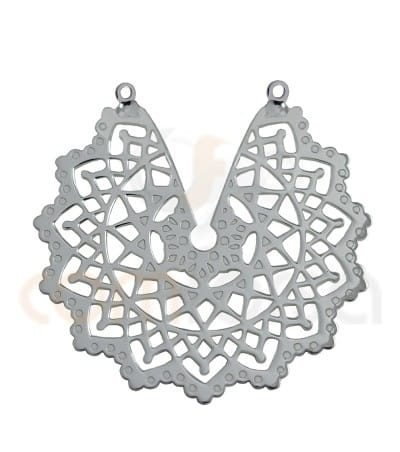 Sterling silver gold-plated Indian flower mandala connector 29 mm