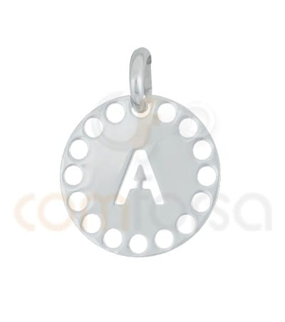 Gold plated Sterling silver 925ml die-cut letter A medallion 14 mm