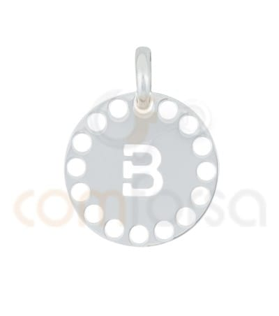 Gold plated Sterling silver 925ml die-cut letter B medallion 14 mm