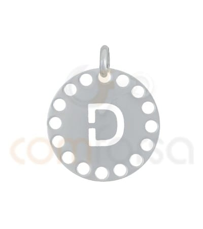 Gold plated Sterling silver 925ml die-cut letter D medallion 14 mm