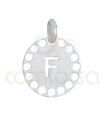 Gold plated Sterling silver 925ml die-cut letter F medallion 14 mm