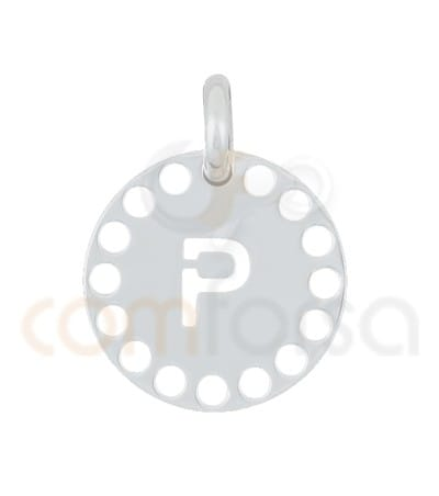 Gold plated Sterling silver 925ml die-cut letter P medallion 14 mm