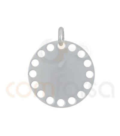 Sterling silver gold plated pendant smooth with circles cutouts 20 mm