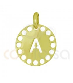Sterling silver 925ml die-cut letter A medallion 14 mm