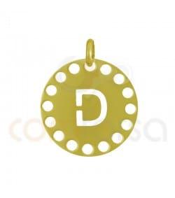 Sterling silver 925ml die-cut letter D medallion 14 mm