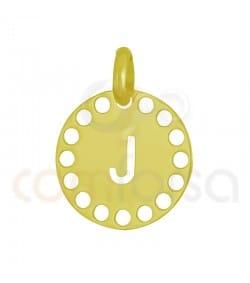 Sterling silver 925ml die-cut letter J medallion 14 mm