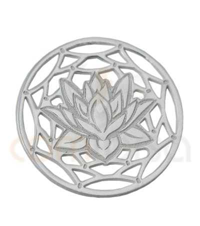 Gold plated Sterling silver 925ml Mandala with lotus flower 13 mm