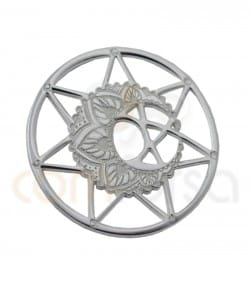 Gold plated Sterling silver 925ml Mandala with moon 13 mm