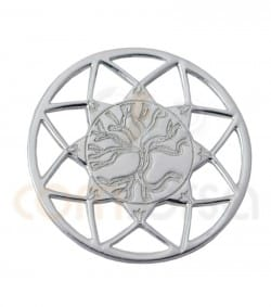 Gold plated Sterling silver 925ml Mandala with Tree of life 13mm
