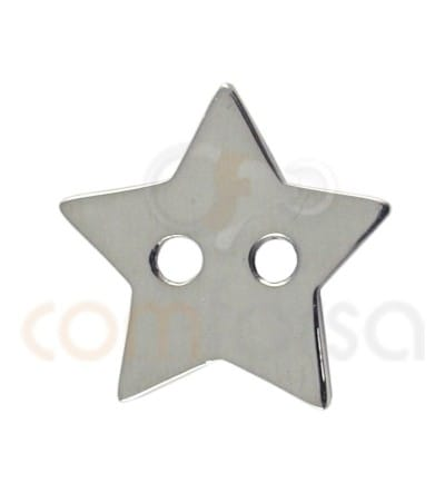 Gold plated Sterling silver 925ml double drilled star 12x13 mm